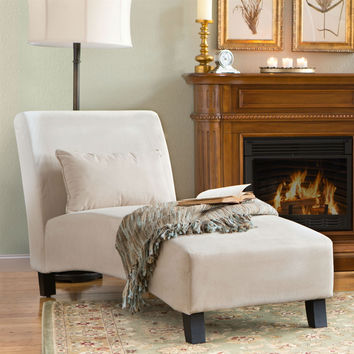 Khaki Microfiber Arched Back Chaise Lounge Chair with Wood Legs