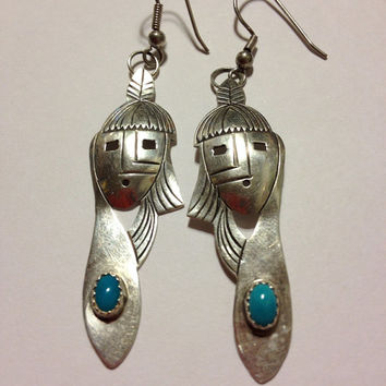 Navajo Turquoise Sterling Earrings Silver 925 Blue Mask Chief Man Warrior Genuine Vintage Native American Tribal Southwestern Boho Jewelry