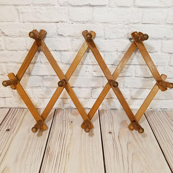 Vintage Wood Nevco Accordion Hanger Peg Rack