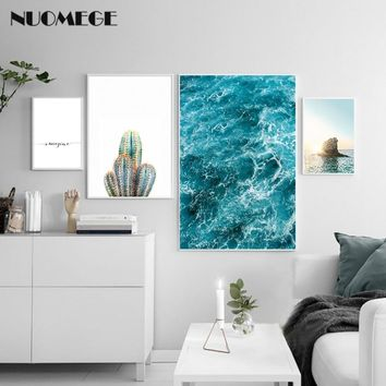 Sea Sunset Landscape Poster Imagine Print Nordic Style Wall Art Canvas Painting Cactus Picture Room Decoration Modern Home Decor
