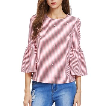Women T-Shirt Three Quarter Flare Sleeve Striped Pattern Beading O-neck Casual Sexy T Shirt Female Tees Elegant Ladies Tops