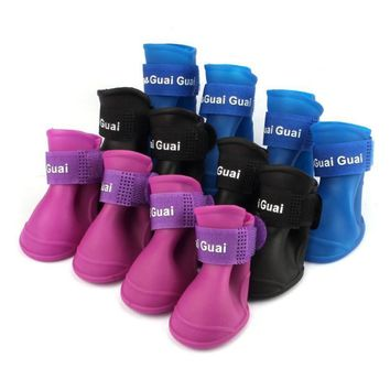 4Pcs/ Lot Pet Dog Shoes Candy Colors Boots Waterproof Silicone Rubber Puppy doggy Rain