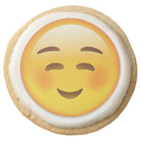 White Smiling Face Emoji Round Premium Shortbread Cookie