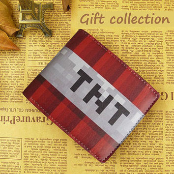 Minecraft TNT wallet Leather, Gift Wallet Luxury