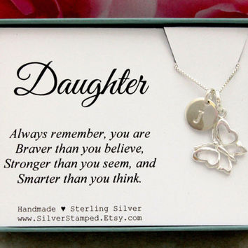 Gift for Daughter necklace sterling silver initial butterfly necklace unique personalized Christmas gift birthday gift from mom or dad