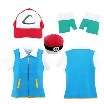 New 2018  Ash Ketchum Trainer Costume Cosplay T Shirt + Gloves + Hat Cap Ash Ketchum Costume Christmas Gift  Kawaii Pokemon go  AT_89_9