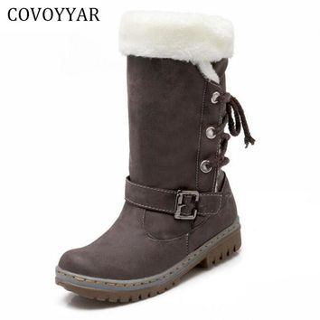 COVOYYAR 2017 Fur Women's Boots Winter Warm Buckle Designer Mid-Calf Snow Boots Back Lace Up Women Shoes Size 40 WBS584