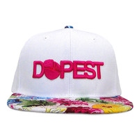Dopest Bar Floral Snapback in White & Rainbow Floral