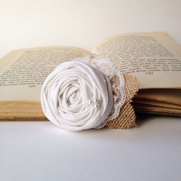Shabby chic rustic vintage white rosette hair piece accessory burlap pearls lace clip fabric flower girl bridal wedding or custom color