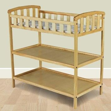 Natural Finish Wood Baby Furniture Changing Table with Safety Rail