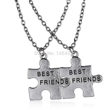 Best friend pendant necklace BFF Puzzle Necklaces friendship long stainless steel chains necklaces