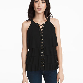 White House | Black Market Sleeveless Tiered Lace-Up Top