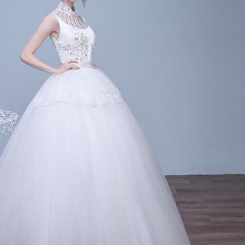 Princess Wedding Dress Lace white Embroidery Bridal Gowns