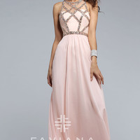 Faviana Long Prom Dress with Beaded Top