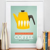 Kitchen art, Coffee print, Cathrineholm poster, Motivational wall art, Giclee modern art, mid century modern,   Morning Coffee yellow  A3