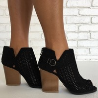 Move To The Beat Suede Booties in Black
