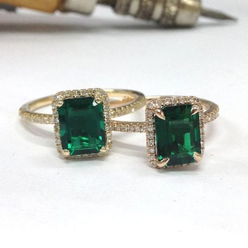Emerald Engagement Ring 14K Yellow Gold!Diamond Wedding Bridal Ring,6x8mm Emerald Cut Treated Green Emerald,Halo,Can handmade Matching Band