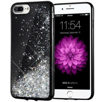 Iphone 7 Plus Case Caka [starry Night Series] Bling Flowing Floating Luxury Liquid Sparkle Tpu Bumper Glitter Case For Iphone 6 Plus/6s Plus/7 Plus/8 Plus (5.5 Inch)   (silver)