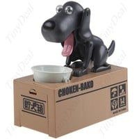Choken Bako Coin Eating Dog Piggy Bank for Save Money, Black Tea Color