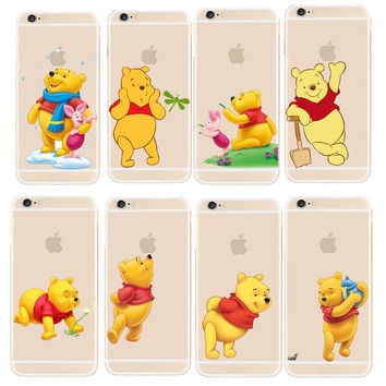 Super Cute Winnie Pooh Design Transparent PC Case Cover For Apple iphone 4 4S 5 5S SE 5C 6 6S 7 Plus Shell