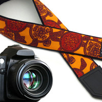 Camera strap Turtle. Red and orange DSLR camera strap. Stylized padded camera straps. Etsy finds by InTePro