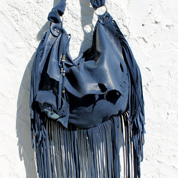Large tribal leather raw edges navy mystical blue cornflower hobo gypsy larp elvish bohemian fringed fringe bag  tote large agate stone hobo