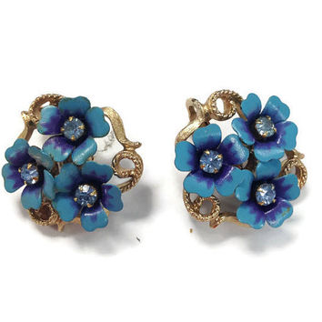 "1970s Earrings / Vintage Signed Avon ""Love Blossoms"" Book Piece Blue Flower Earrings, Clip Earrings"