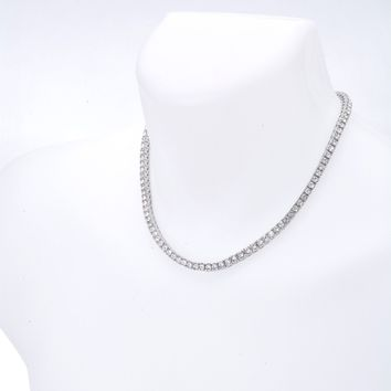 "Jewelry Kay style Men's Fashion Bling CZ Iced Out 4 mm Round Stone 18"" Tennis Chain Necklace"