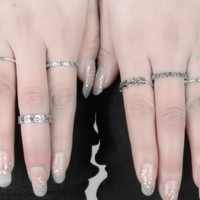 Gothic style carved lines more style suit ring