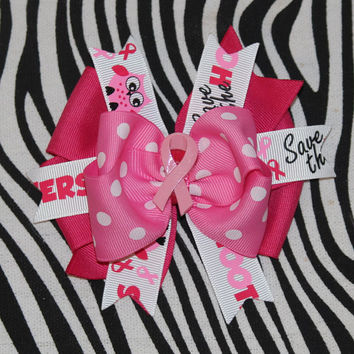 Save the Hooters hair bow breast cancer by MegansHairCandy on Etsy