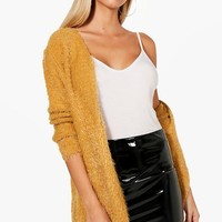 Chaise Fluffy Knit Cardigan | Boohoo