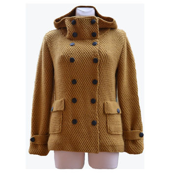 Mustard knitted coat - jacket MADE TO ORDER