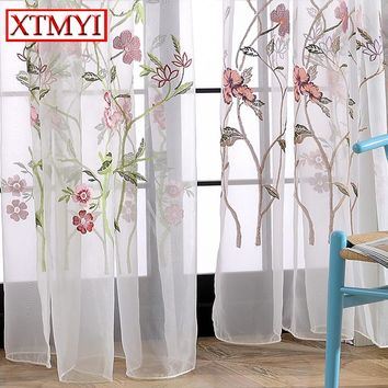 Embroidered Voile Curtains Bedroom Sheer Colorful flowers Curtains for Living Room Tulle Window blinds