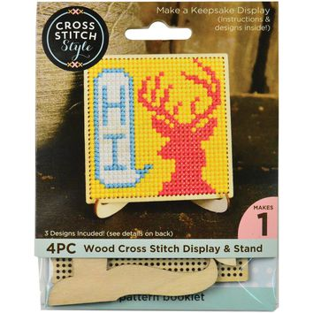 Square Wood Display W/Easel Punched For Cross Stitch-