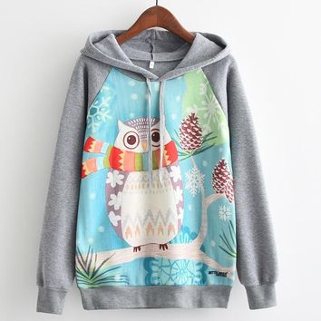 Cute Winter Owl All Over Print Hoodies Sweater