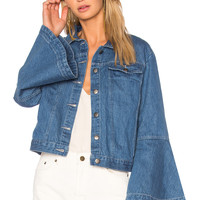EDIT Flute Sleeve Denim Jacket in Light Wash | REVOLVE