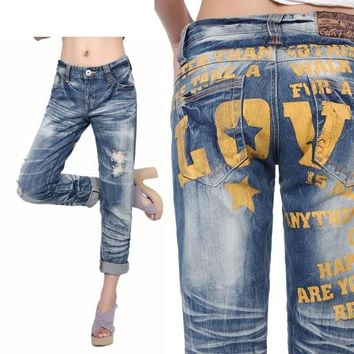 Ladies Alphabet Boyfriend Rinsed Denim Ripped Holes Jeans [73422700570]
