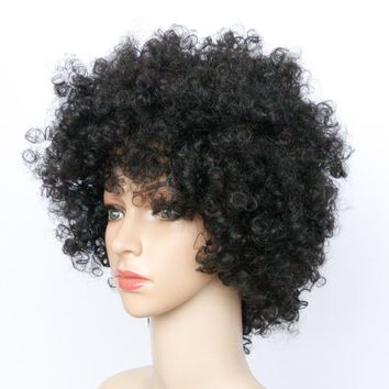 Man Unit Base - Soloowigs Bouncy Curly Natural Black Full Lace Afro Wigs High Temperature Fiber Short Synthetic Hairpieces for Women Men Unisex