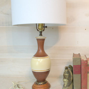 Unique Pair of Striped Ceramic Lamps with Faux Wood Finish, Mid Century Bedside Lamps