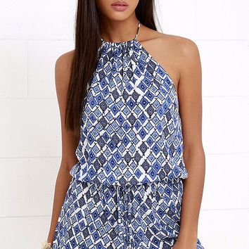 You Bet Ivory and Blue Print Halter Romper