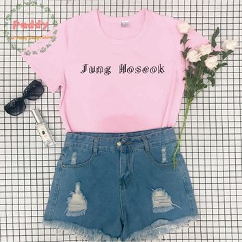 BTS korean style tumblr fashion unisex women top cool Jung Hoseok T SHIRT streetwear aesthetic befree tee clothes letter print