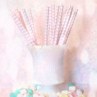 Pink Paper Straws, Kitchen Art Print, Home Decor, Ready to Frame Photo, Wall Hanging, Still Life, Digital Photograph, Pastel Mints, Dreamy