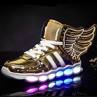 Detachable Winds Children USB Charged Led Light Shoes Boys Girls Colorful Flash Luminous Shoes Boys Girls Sneakers Sports Shoes