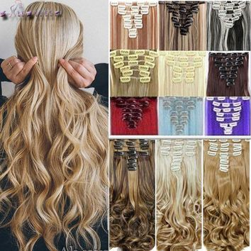 S-noilite 8Pcs/set Clip On Hair Extension 24 inch Natural & Thick Hairpieces Curly Synthetic Clip In Hair Extensions