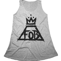 Fall Out Boy Mini Dress Dresses Tank Top Gray Rocker Women Girl Grey Size S,M,L