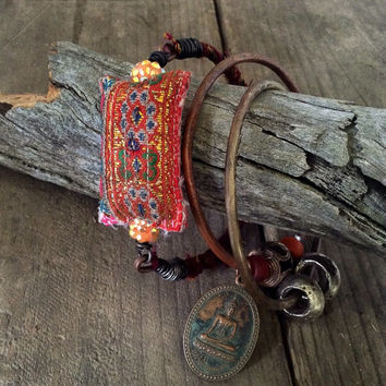 Gypsy bangle set: vintage Hmong textile, stacking bangles, brass bangle, copper bangle, boho bangles, Buddha amulet