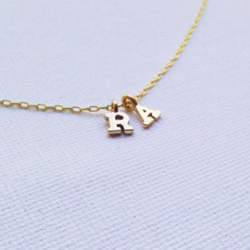 Tiny Gold Initials Necklace - Gold Vermeil Initial Charm - Personalized Jewelry - Alphabet Charm - Gift idea for Couples or for Mom
