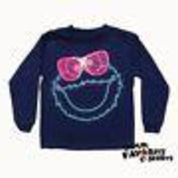 Sesame Street Cookie Monster Neon Glasses Youth Boys Long Sleeve T Shirt