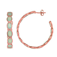 Eternity Style Hoop Earrings Of Aqua Chalcedony Set Into Rose Gold Finished Sterling Silver