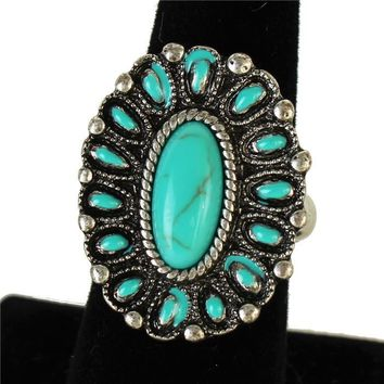 1.30 turquoise boho stretch ring